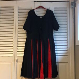 Fit and Flare Black Dress with Red Insets